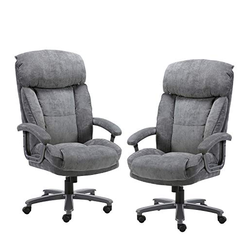 CLATINA Ergonomic Big Tall Executive Office Chair With Upholstered Swivel 400lbs High Capacity Adjustable Height Thick Padding Headrest And Armrest For Home Office BIFMA Certified Grey 2 Pack 0