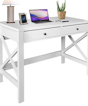 ChooChoo Home Office Desk Writing Computer Table Modern Design White Desk With Drawers 0 300x360