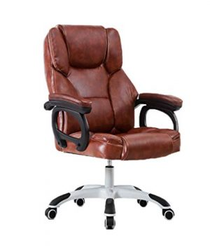 Comfortable Guest Chair ChangSQ Home Chair PU Comfortable Chair Easy To Clean Chair Bedroom Chair Study Chair Hotel Chair Club Chair Computer Desk And Chair Office Supplies Color Brown 0 300x360