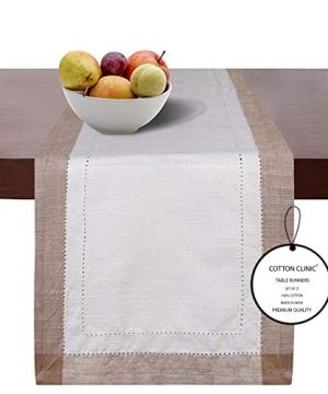 Cotton Clinic 2 Pack Double Hemstitch Table Runners 72 Inch Farmhouse 14x72 Slub Cotton Wedding Table Runners Rustic Bridal Decor Dining Table Runners With Mitered Corners Beige White 0 300x360