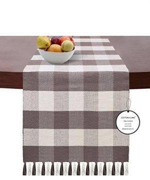 Cotton Clinic Gingham Buffalo Check Table Runner Farmhouse Style 90 Inch 14x90 Wedding Table Runner Fringes Rustic Bridal Shower Decor Dining Table Runner Charcoal Grey 0 300x360