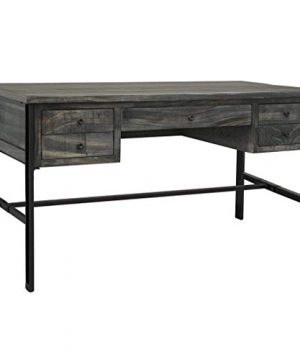 Crafters And Weavers Sawyer Parota Wood Modern Desk With 5 Drawers Warm Gray 0 300x360