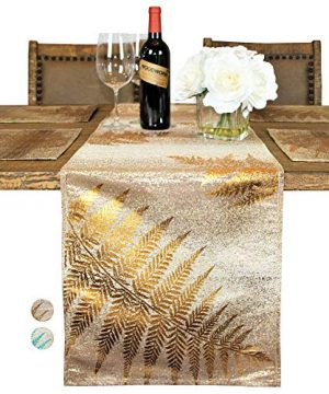 Custom Made Metallic Yarn Gold Green Table Runner 15 X 106 Inch Gold Table Runner For Dining Table Modern Foil Leaf Design Ideal For Holidays Home Dcor GoldGold 0 300x360