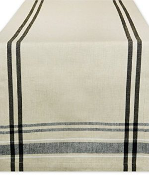 DII 100 Cotton French Stripe Tabletop Collection For Everyday IndoorOutdoor Dining Special Occasions Or Dinner Parties Machine Washable Table Runner 14x72 Taupe WBlack 0 300x360