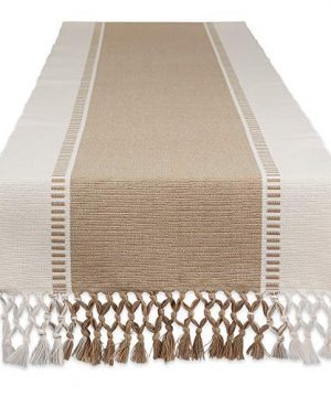 DII CAMZ11422 Woven Dobby Stripe Table Runner 13x108 Stone 0 300x360