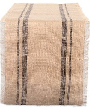DII CAMZ38408 Mineral Border Burlap Table Runner 14 X 108 Double Stripe Gray 0 300x360