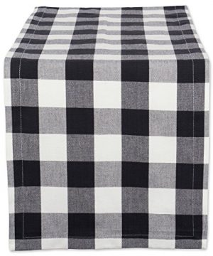 DII Classic Buffalo Check Tabletop Collection For Family Dinners Special Occasions Barbeques Picnics And Everyday Use 100 Cotton Machine Washable Table Runner 14x72 Black White 0 300x360