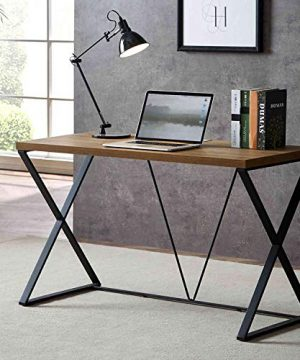 DYH Computer Desk Rustic Wood And Metal X Writing Desk Wood Table For Home Office 47 Inch 0 300x360