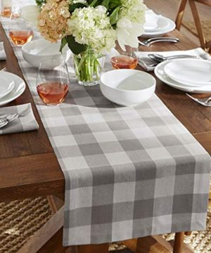 Elrene Home Fashions Farmhouse Living Buffalo Check Table Runner 13 X 70 GrayWhite 0 300x360
