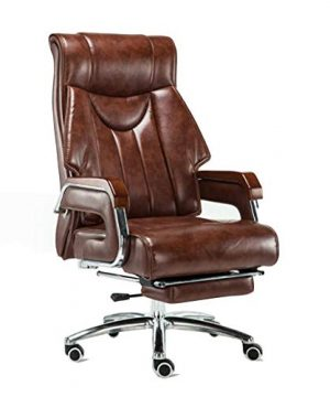 FENGFAN Chair Luxury Faux Leather High Back Reclining Recliner Swivel Computer Desk Study Retractable Footrest Armchair Color Brown 0 300x360