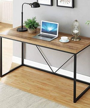 FOLUBAN Rustic Industrial Computer DeskWood And Metal Writing Desk Vintage PC Table For Home Office Oak 47 Inch 0 300x360