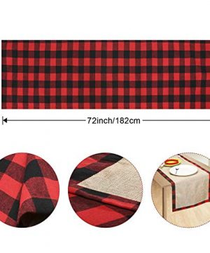 Farochy Christmas Table Runner Buffalo Plaid Cotton Burlap Buffalo Plaid Table Runner Christmas Reversible Red And Black Checkered Table Runners 15 X 72 Inch 0 0 300x360