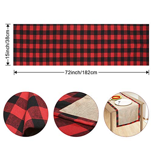 Farochy Christmas Table Runner Buffalo Plaid Cotton Burlap Buffalo Plaid Table Runner Christmas Reversible Red And Black Checkered Table Runners 15 X 72 Inch 0 0