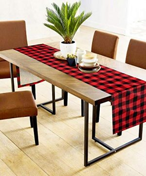 Farochy Christmas Table Runner Buffalo Plaid Cotton Burlap Buffalo Plaid Table Runner Christmas Reversible Red And Black Checkered Table Runners 15 X 72 Inch 0 1 300x360