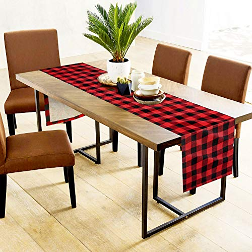 Farochy Christmas Table Runner Buffalo Plaid Cotton Burlap Buffalo Plaid Table Runner Christmas Reversible Red And Black Checkered Table Runners 15 X 72 Inch 0 1
