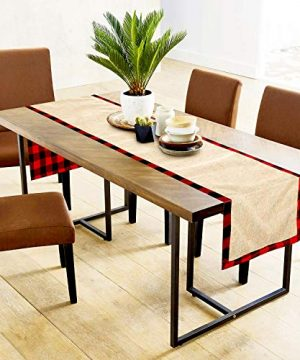 Farochy Christmas Table Runner Buffalo Plaid Cotton Burlap Buffalo Plaid Table Runner Christmas Reversible Red And Black Checkered Table Runners 15 X 72 Inch 0 2 300x360