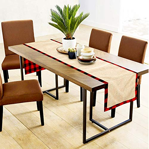 Farochy Christmas Table Runner Buffalo Plaid Cotton Burlap Buffalo Plaid Table Runner Christmas Reversible Red And Black Checkered Table Runners 15 X 72 Inch 0 2