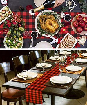 Farochy Christmas Table Runner Buffalo Plaid Cotton Burlap Buffalo Plaid Table Runner Christmas Reversible Red And Black Checkered Table Runners 15 X 72 Inch 0 3 300x360