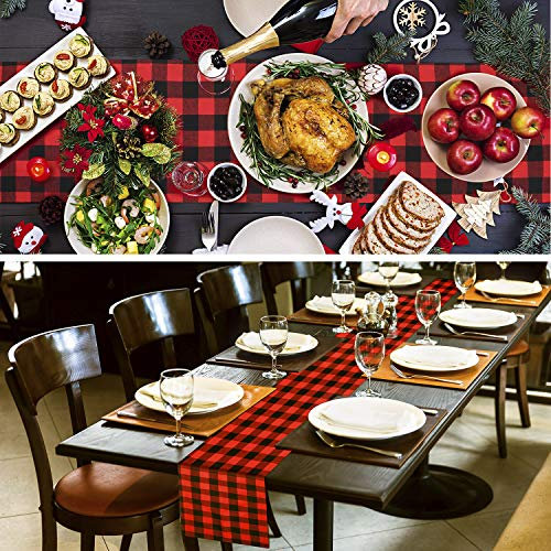 Farochy Christmas Table Runner Buffalo Plaid Cotton Burlap Buffalo Plaid Table Runner Christmas Reversible Red And Black Checkered Table Runners 15 X 72 Inch 0 3