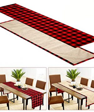 Farochy Christmas Table Runner Buffalo Plaid Cotton Burlap Buffalo Plaid Table Runner Christmas Reversible Red And Black Checkered Table Runners 15 X 72 Inch 0 300x360