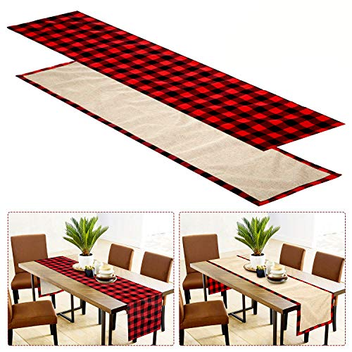 Farochy Christmas Table Runner Buffalo Plaid Cotton Burlap Buffalo Plaid Table Runner Christmas Reversible Red And Black Checkered Table Runners 15 X 72 Inch 0