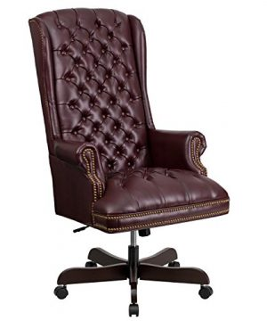 Flash Furniture High Back Traditional Fully Tufted Burgundy LeatherSoft Executive Swivel Ergonomic Office Chair With Arms BIFMA Certified 0 300x360