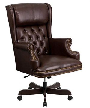 Flash Furniture High Back Traditional Tufted Brown LeatherSoft Executive Ergonomic Office Chair With Oversized Headrest Nail Trim Arms BIFMA Certified 0 300x360