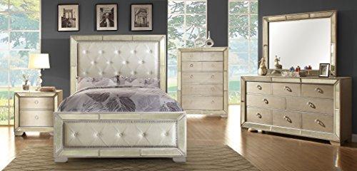 Furniture Of America Hanson Modern Victorian Platform Bed Queen Silver 0 1