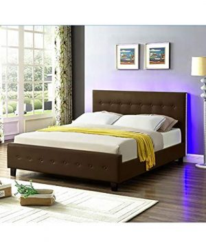 Galaxy Home Sita LED Queen Size Wood Bed In Espresso Brown 0 1 300x360