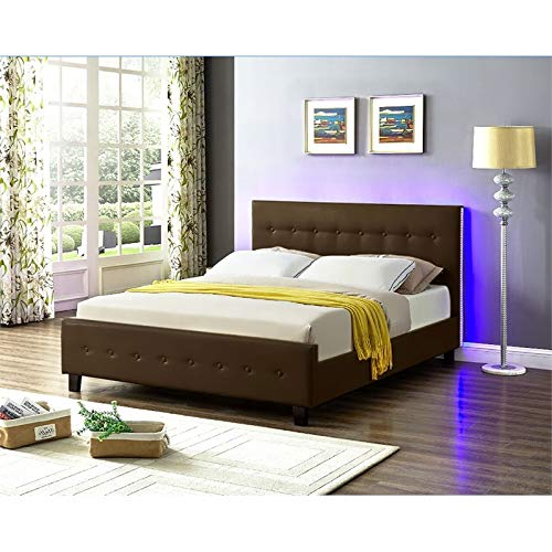 Galaxy Home Sita LED Queen Size Wood Bed In Espresso Brown 0 1