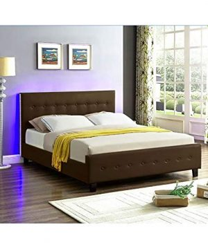 Galaxy Home Sita LED Queen Size Wood Bed In Espresso Brown 0 2 300x360
