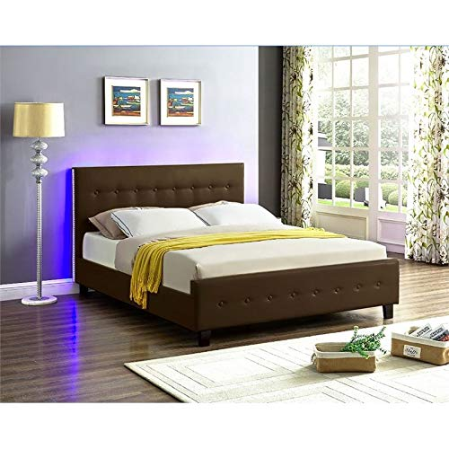 Galaxy Home Sita LED Queen Size Wood Bed In Espresso Brown 0 2