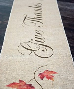 Give Thanks Maple Leaves Burlap Table Runner 0 300x360