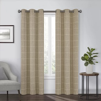 Grahm Striped Blackout Thermal Grommet Single Curtain Panel