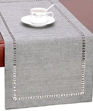 Grelucgo Handmade Hemstitch Gray Dining Table Runner Or Dresser Scarf Rectangular 14 By 72 Inch 0 300x360