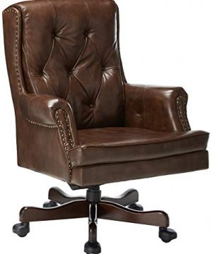 Halter Executive Grain Cow Leather Home Office Computer Desk CEO Metal Base WWood Caps Supports 500LBS Office Chair 0 300x360