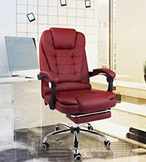 Halter Reclining Leather Office Chair Modern Executive Adjustable Rolling Swivel Chair Headrest With Retractable Farmhouse Goals