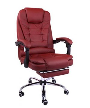 Halter Reclining Leather Office Chair Modern Executive Adjustable Rolling Swivel Chair Headrest With Retractable Footrest Burgundy 0 300x360