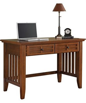 Home Styles Arts And Crafts Mission Style Student Desk Crafted From Hardwoods With Cottage Oak Finish Black Finished Hardware Slightly Flared Legs Two Storage Drawers 0 0 300x360