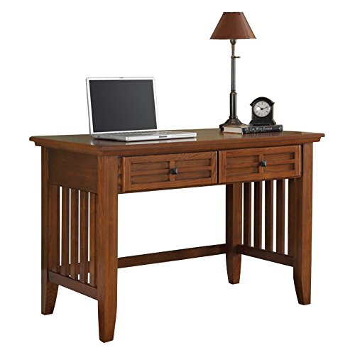Home Styles Arts And Crafts Mission Style Student Desk Crafted From Hardwoods With Cottage Oak Finish Black Finished Hardware Slightly Flared Legs Two Storage Drawers 0 0