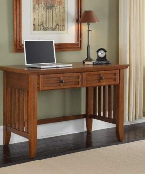 Home Styles Arts And Crafts Mission Style Student Desk Crafted From Hardwoods With Cottage Oak Finish Black Finished Hardware Slightly Flared Legs Two Storage Drawers 0 1 300x360