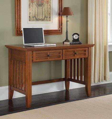 Home Styles Arts And Crafts Mission Style Student Desk Crafted From Hardwoods With Cottage Oak Finish Black Finished Hardware Slightly Flared Legs Two Storage Drawers 0 1