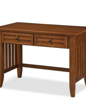 Home Styles Arts And Crafts Mission Style Student Desk Crafted From Hardwoods With Cottage Oak Finish Black Finished Hardware Slightly Flared Legs Two Storage Drawers 0 300x360