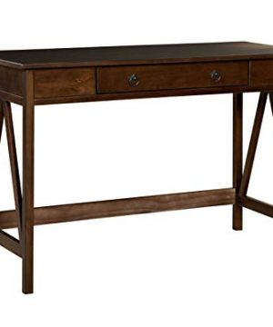 HomeRoots Pine Wood And MDF Rectangular Wooden Desk With Drawer And Inverted V Shape Sides Brown 0 300x360