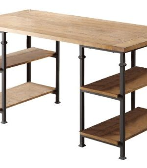 Homelegance Factory Metal Frame Writing Desk Rustic Brown 0 300x342