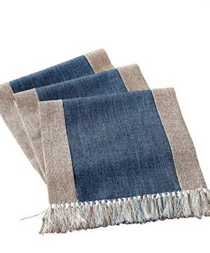 HomeyHo Rustic Table Runner With Fringe Dinning End Table Runner For Living Room Now Designs Table Runner Long Table Runner Modern Design Washable Table Runner Long 15 X 71 Inch Blue 0 300x360