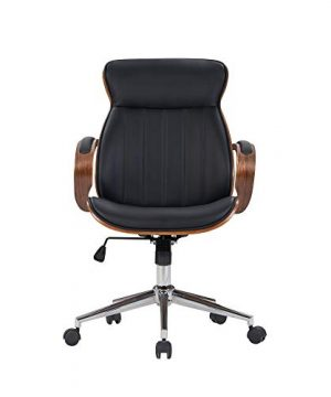 IDS Home Contemporary Walnut Wood Executive Swivel Ergonomic With Arms Office Furniture Bentwood Mid Back Desk Chair Black 0 0 300x360