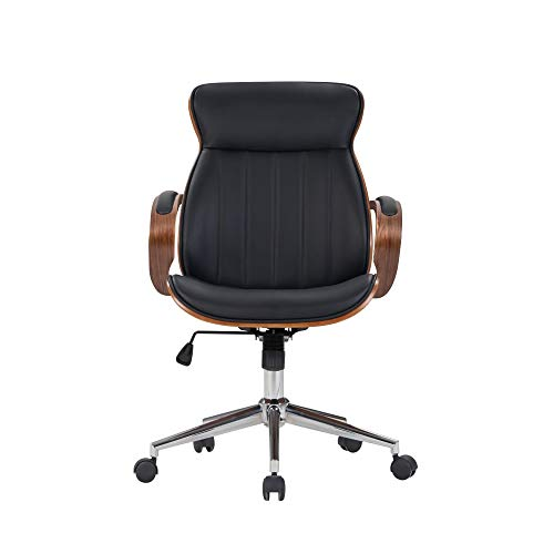 IDS Home Contemporary Walnut Wood Executive Swivel Ergonomic With Arms Office Furniture Bentwood Mid Back Desk Chair Black 0 0
