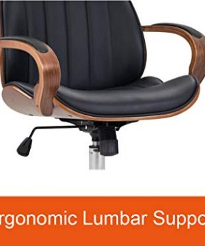 IDS Home Contemporary Walnut Wood Executive Swivel Ergonomic With Arms Office Furniture Bentwood Mid Back Desk Chair Black 0 1 300x360
