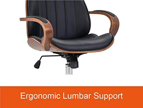 IDS Home Contemporary Walnut Wood Executive Swivel Ergonomic With Arms Office Furniture Bentwood Mid Back Desk Chair Black 0 1